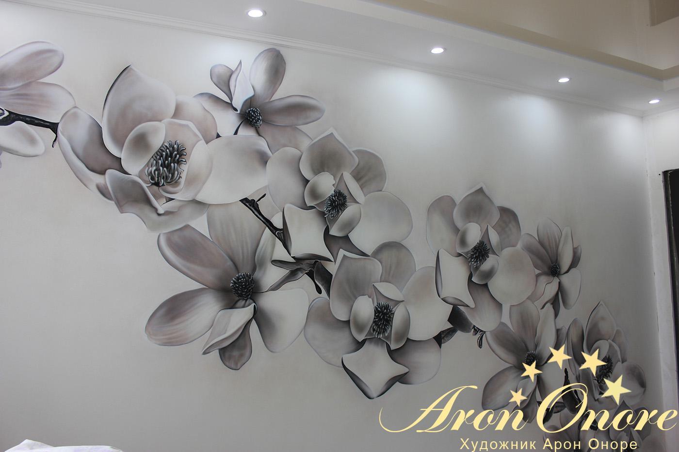Дизайн цветы на стене фото