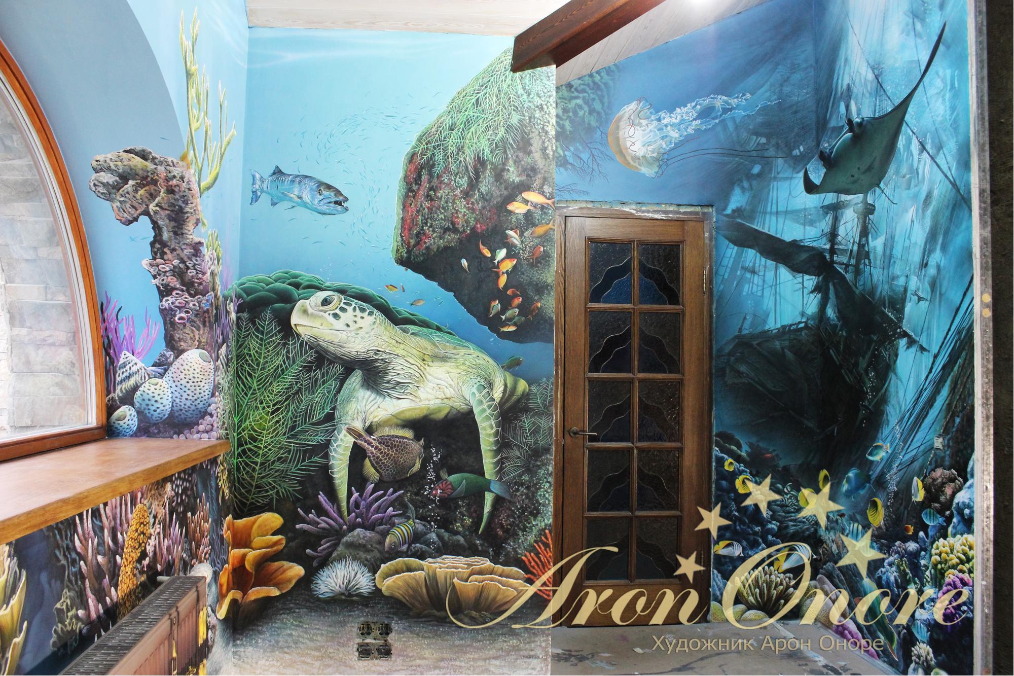 Роспись стен на морскую тем