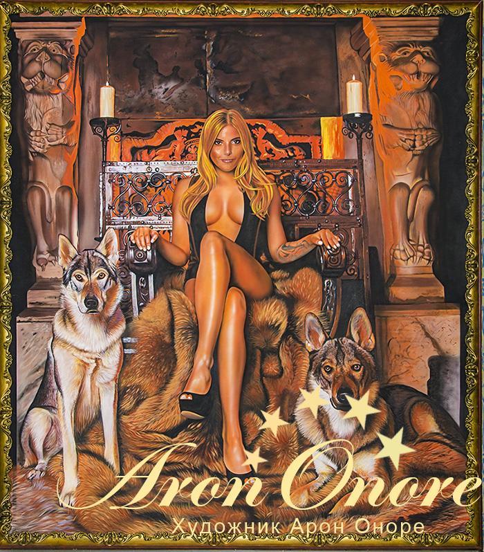 Роспись стен: рисунок – девушка на троне с двумя собаками