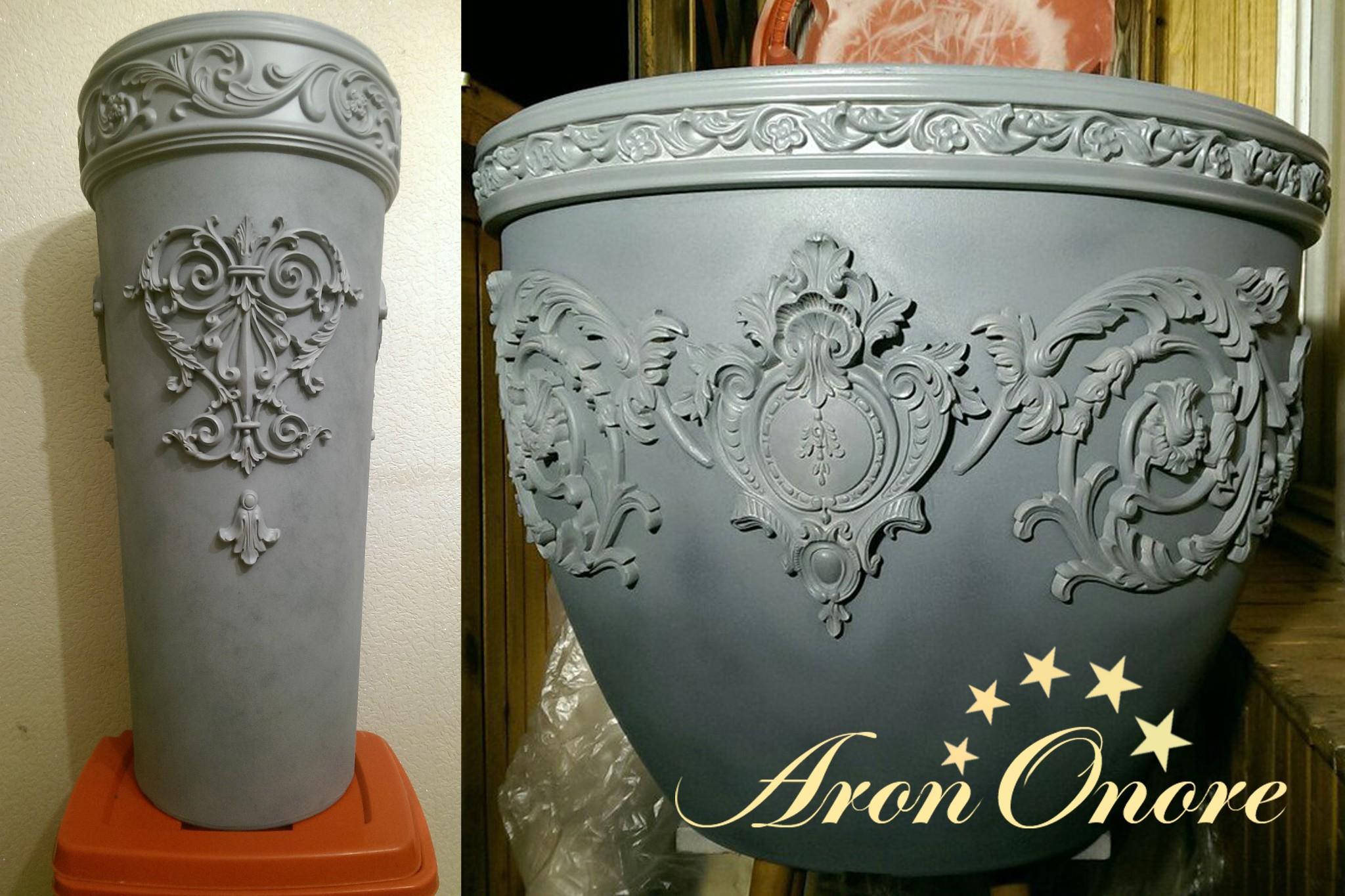 декорирование ваз с помощью гибкой лепнины Pearlworks