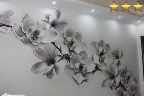 Аэрография на стенах в квартире «Цветы», Москва