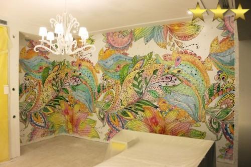 Акварель, рисунок на стене (оформление детской комнаты)
