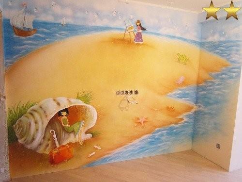 Роспись стены в детской «Песочный остров»