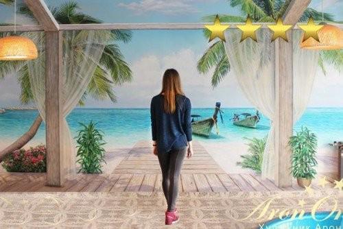 Пальма рисунок на стене в бассейне. Роспись обманка
