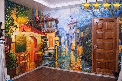 Роспись стен обманка «Вечерние улицы»