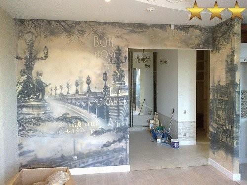 Роспись в зале квартиры в стиле ФРАНЦИЯ