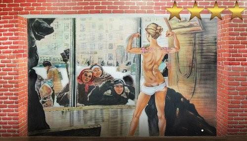 Рисунок на стене в московском спортклубе
