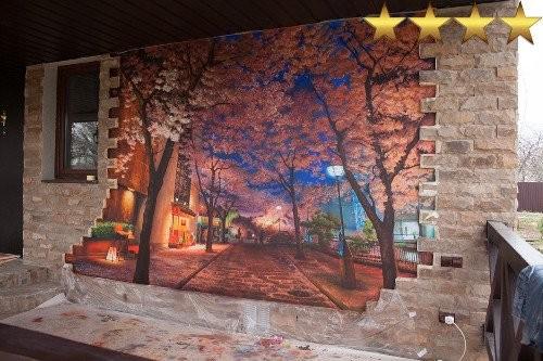 Роспись фасада частного дома в Москве
