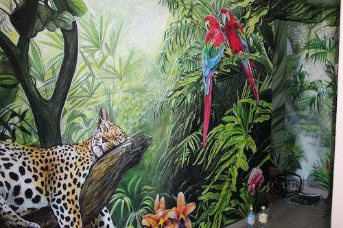 Роспись стен с леопардом и другими животными