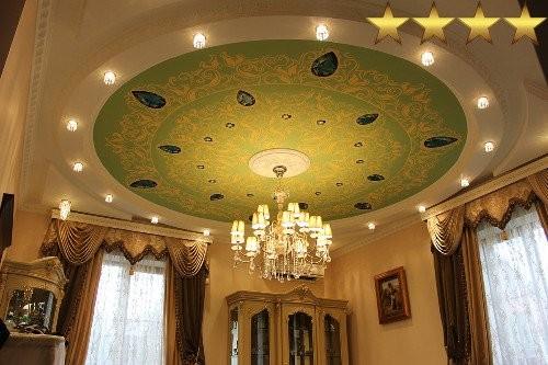Роспись потолка в частном доме «Изумруды», город Москва