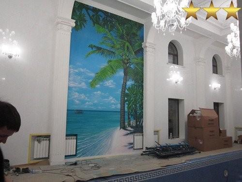 Роспись стен бассейна  в частном доме Москвы