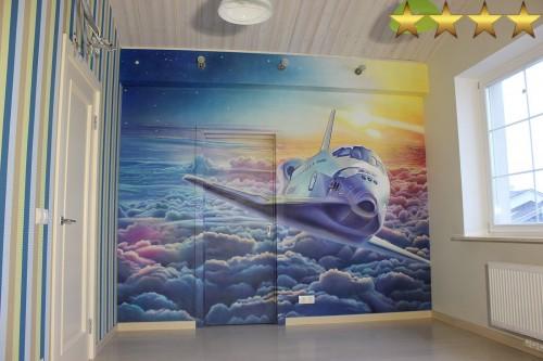 Аэрография в детской комнате - «Шаттл».