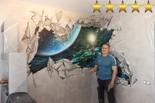 Рисунки на стенах в детской комнате «Выход в космос».