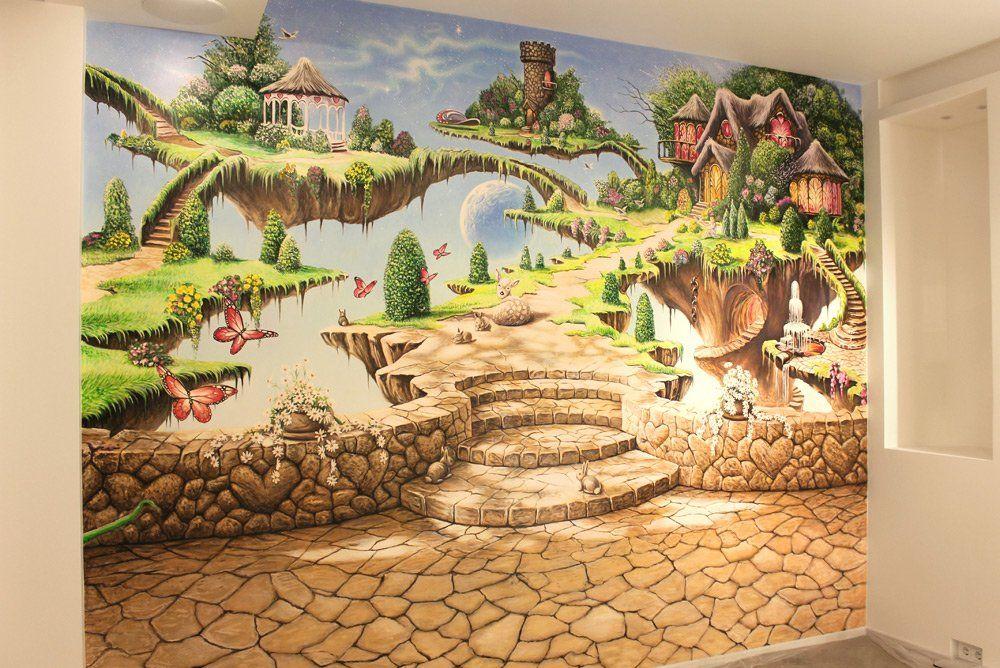 Рисунок на стене в детской комнате фэнтезийный мир