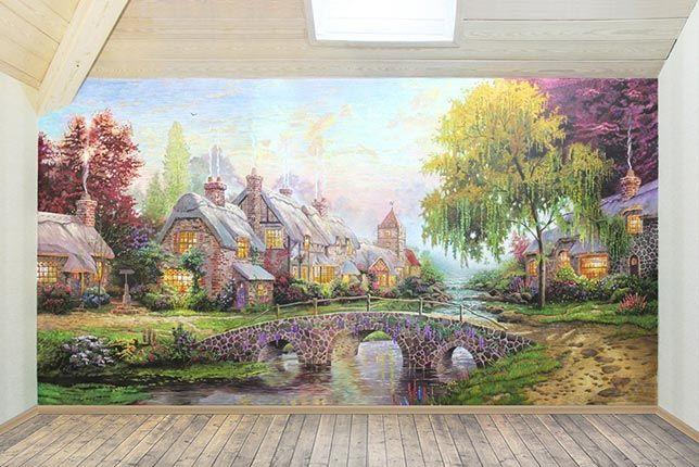 Рисунок дома. Репродукция художника Томаса Кинкейда Вдали от шума городского