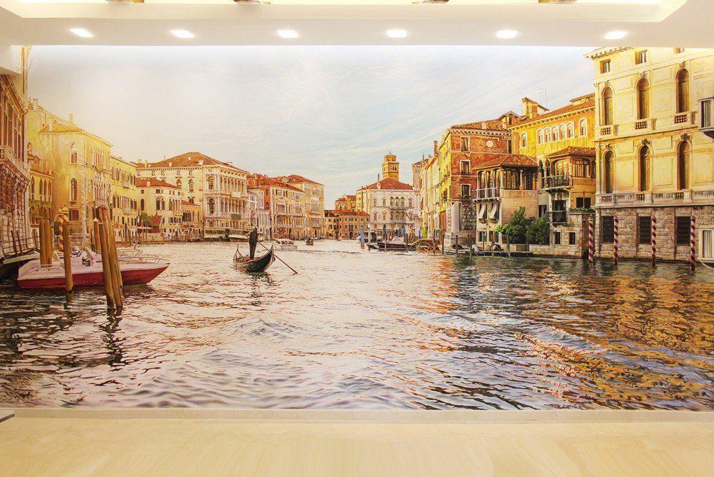 Роспись на стене в гостиной, архитектурный пейзаж Венеции