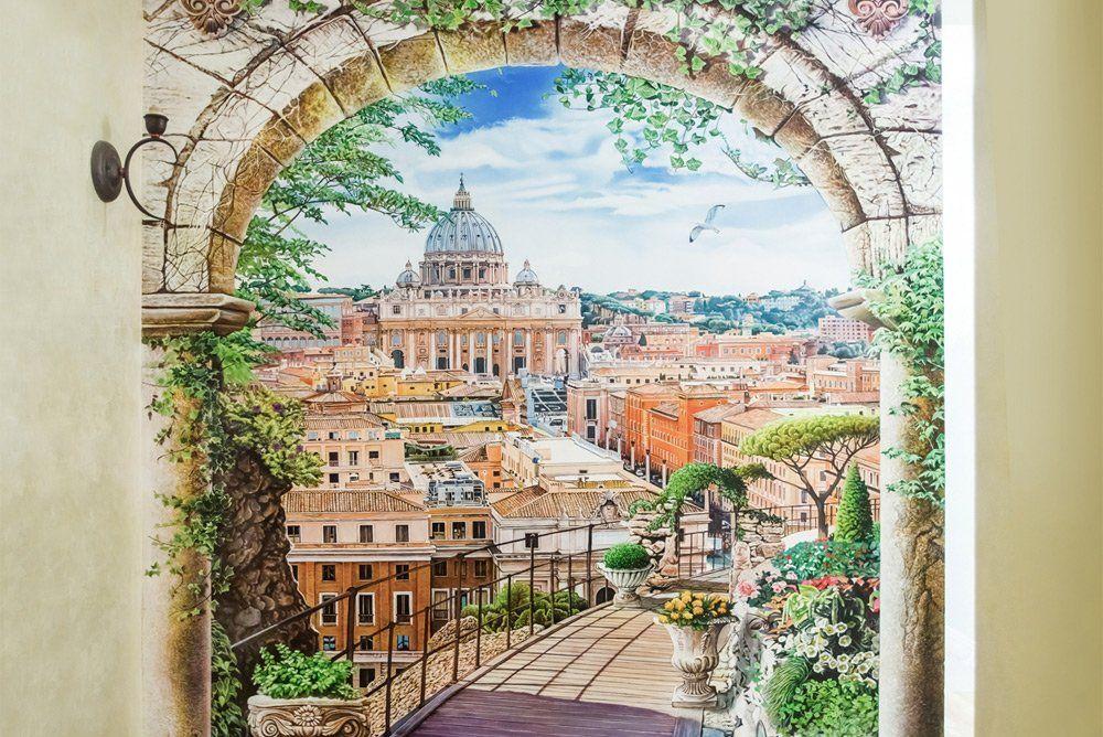 Роспись стены архитектурный пейзаж Рима