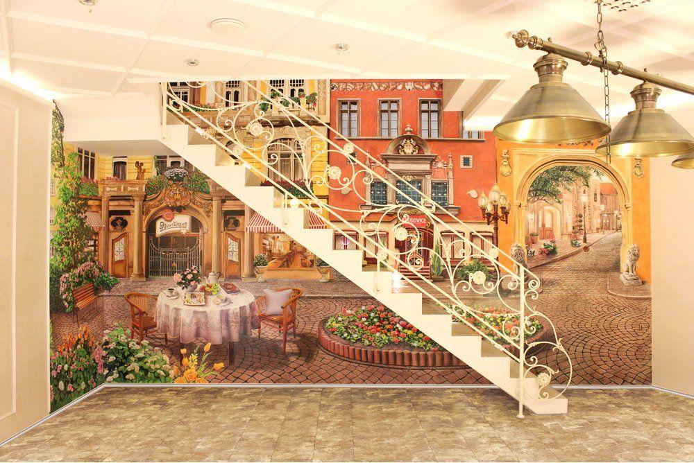 Роспись стен в бильярдной, фасады зданий Италии