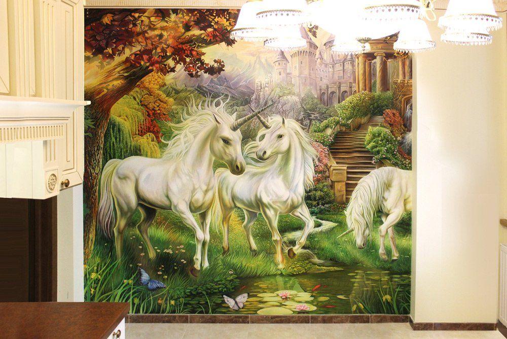Роспись на кухне «Фэнтези Единороги», копия художника Яна Патрика Красного