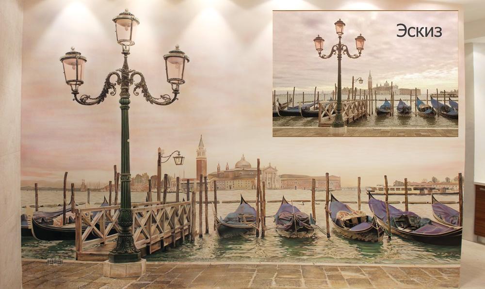 Венеция Gondola  роспись на стене