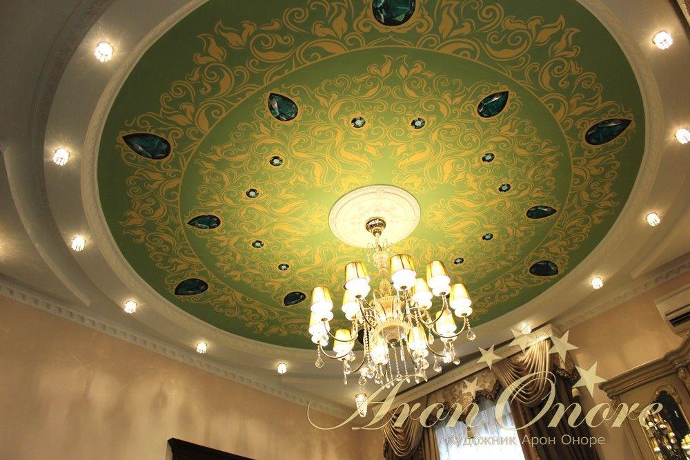 Альфрейная роспись потолка с изумрудами
