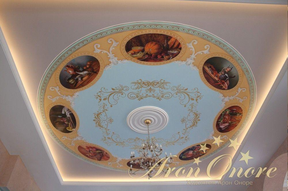 Альфрейная роспись потолка с натюрмортами для кухни