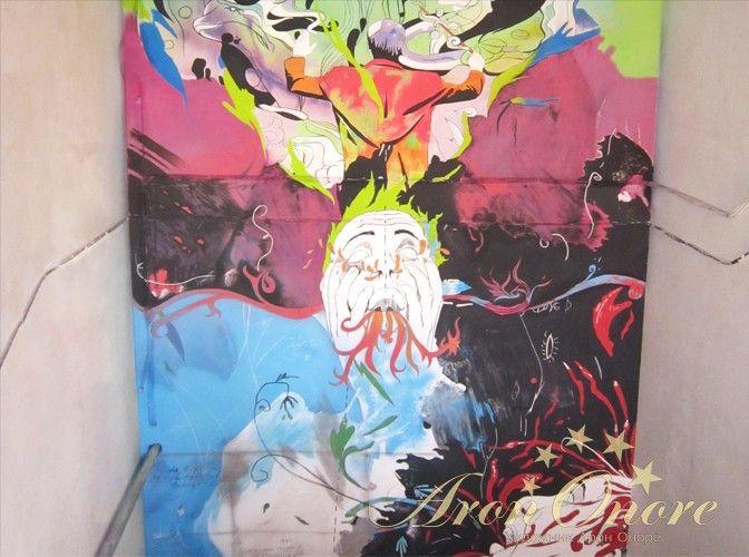 Граффити на стене абстракция