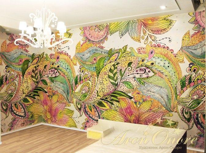 Рисунок на стене акварель абстракция в детской комнате