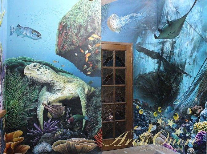 Роспись стен в морском стиле, черепаха, затонувший корабль