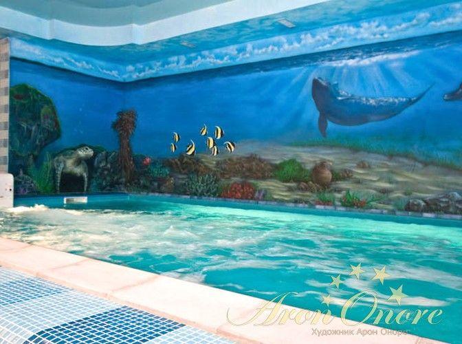 Роспись стен в морском стиле дельфины на глубине