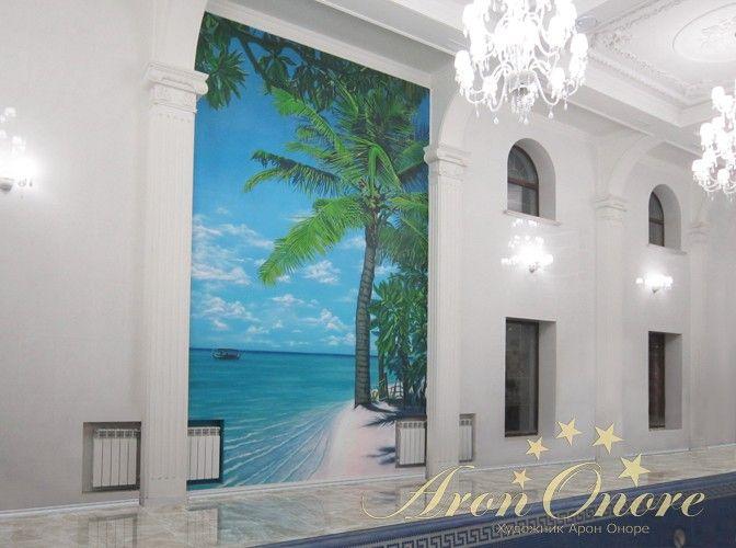 Роспись стен в морском стиле, море, пляж