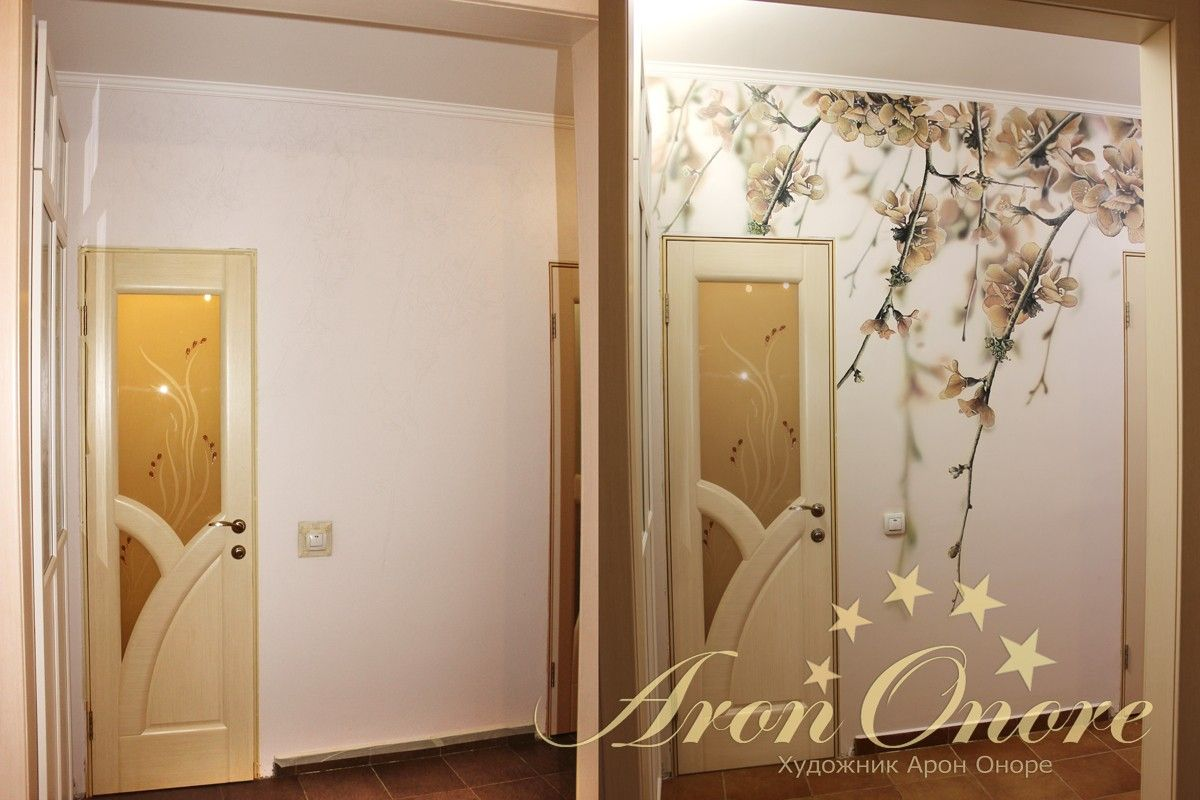 Роспись стены в квартире до и после