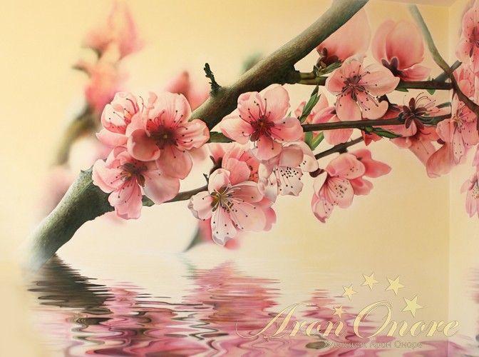 Роспись на стене цветы сакуры