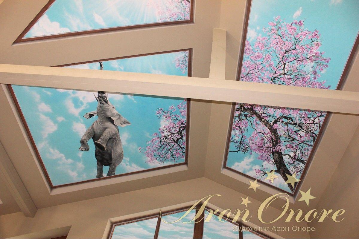 Солнечное небо рисунок на потолке, сакура, летящий слон
