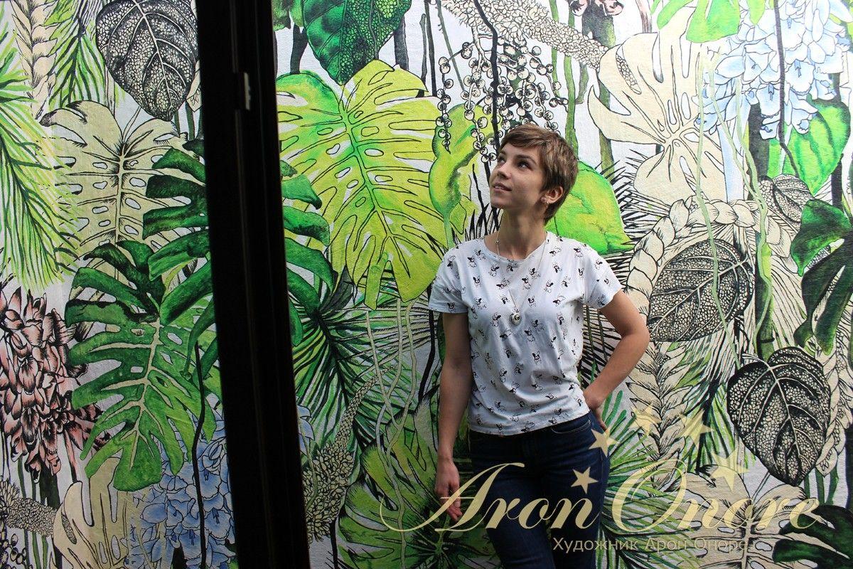 Рисунок на стене пальмы, джунгли Юлия Агеева