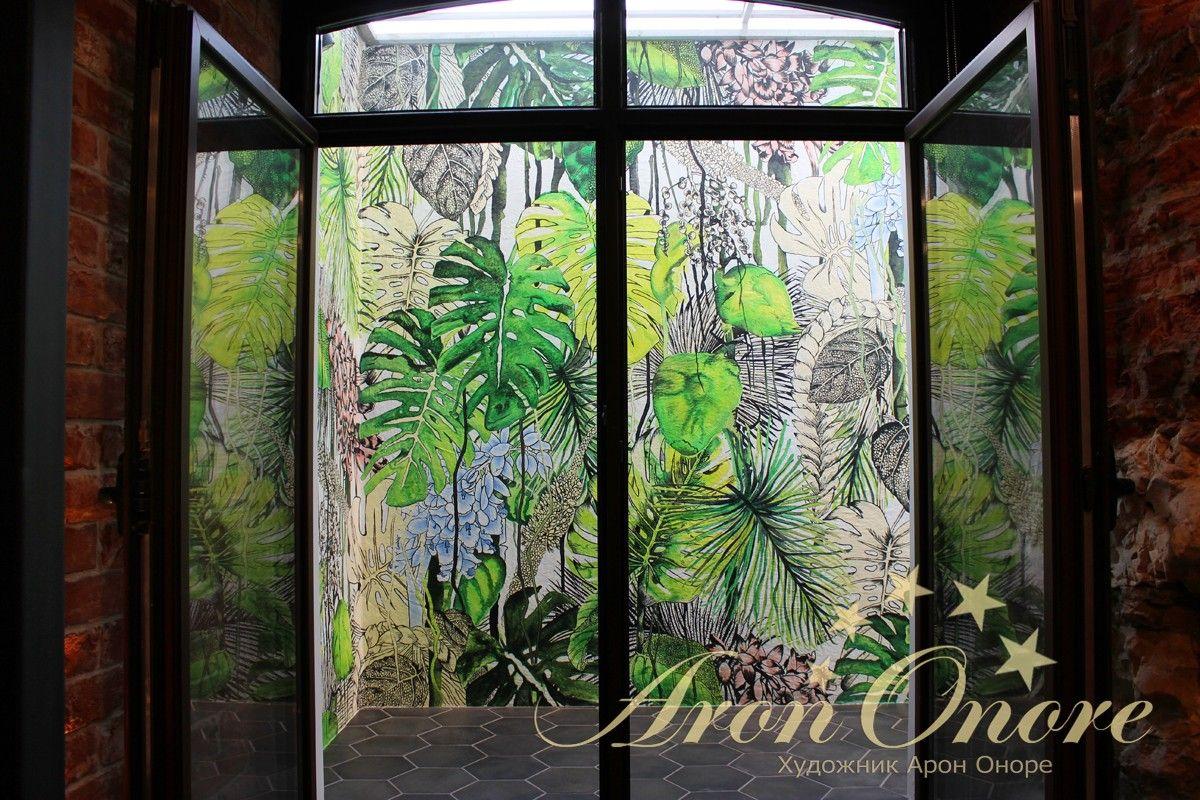 Роспись на стене абстракция листья пальмы джунгли