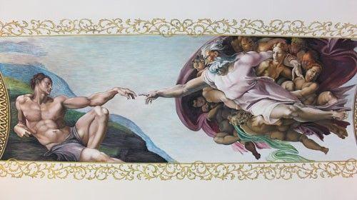 Роспись потолка Сотворение Адама