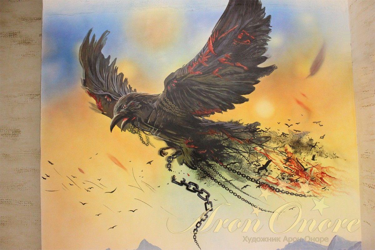 птица, абстракция рисунок на стене