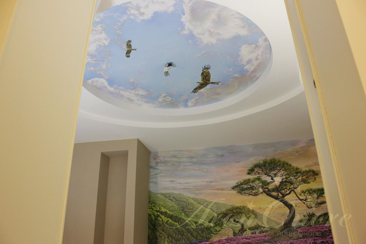 Пейзаж рисунок на стене