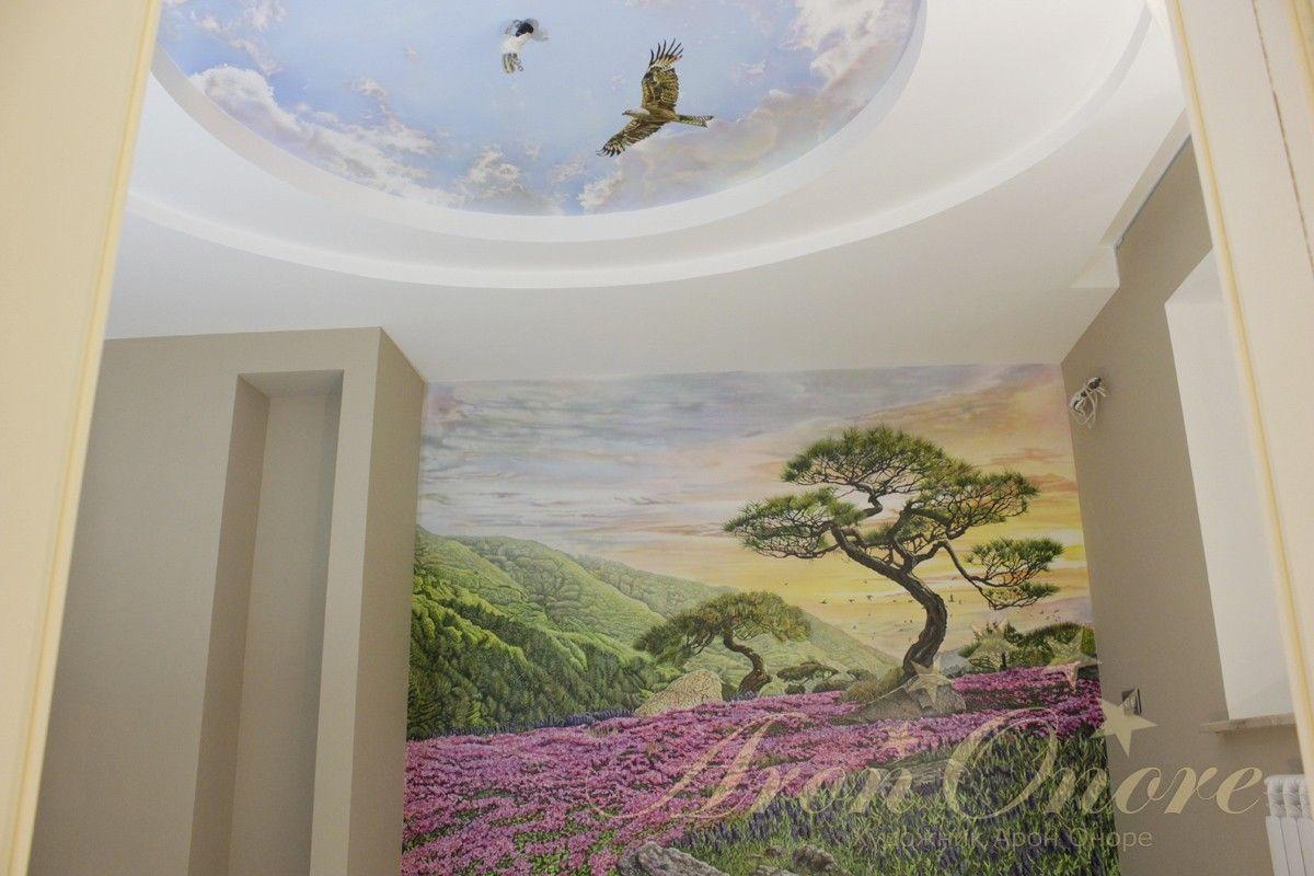Пейзаж роспись на стене