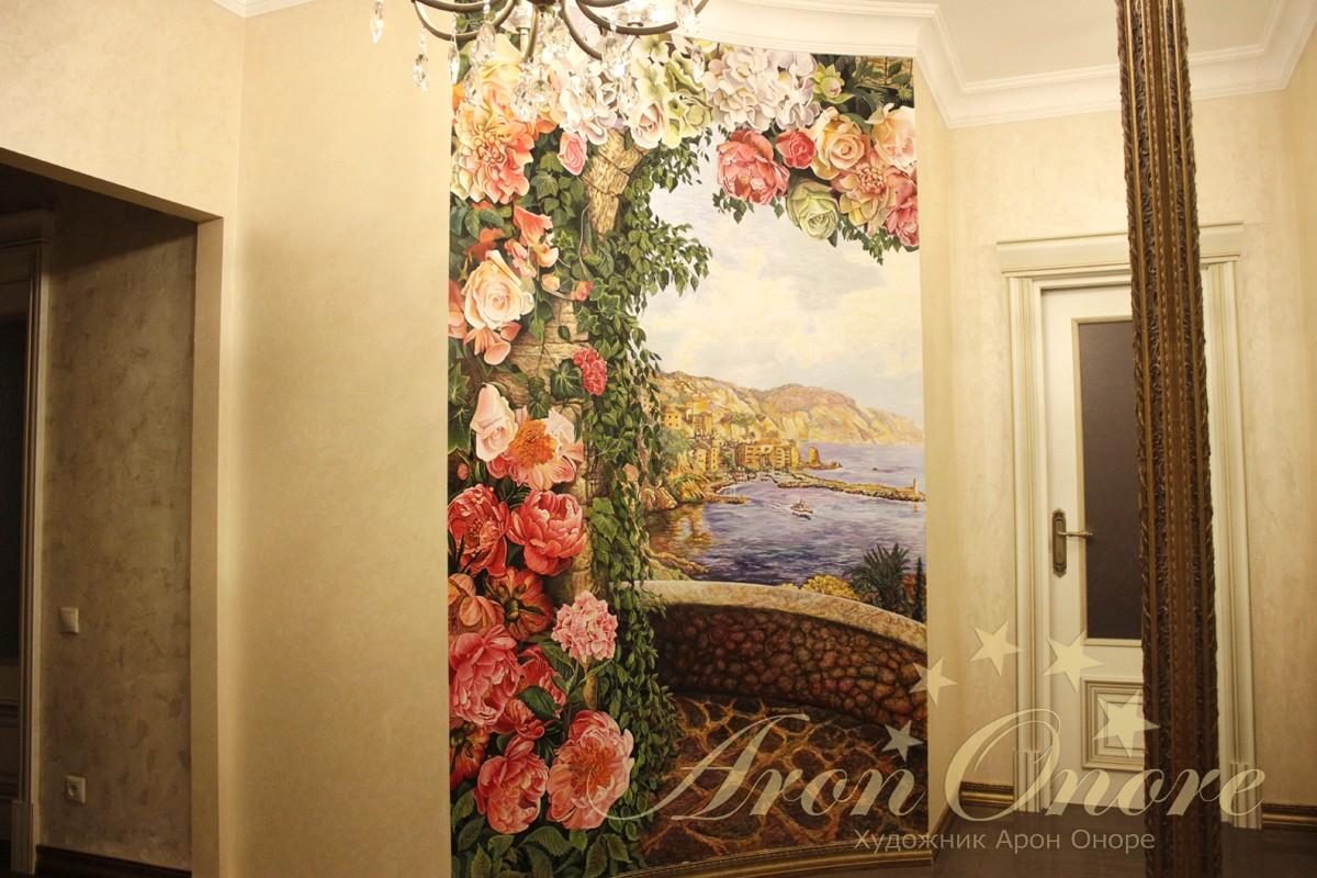 Арка из цветов, пейзаж, роспись на стене