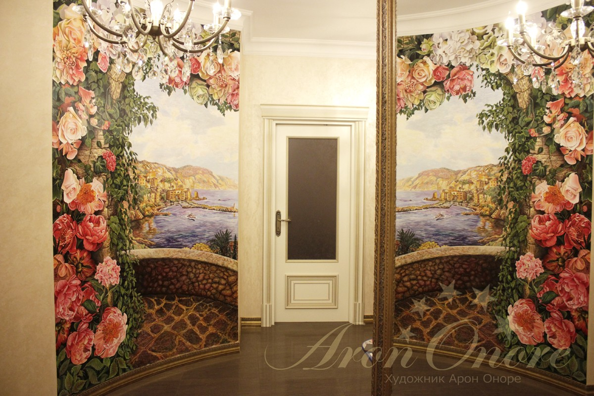 Живопись в интерьере цветы розы и гротензия