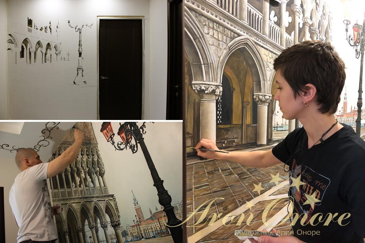 Художник пишет роспись на стене