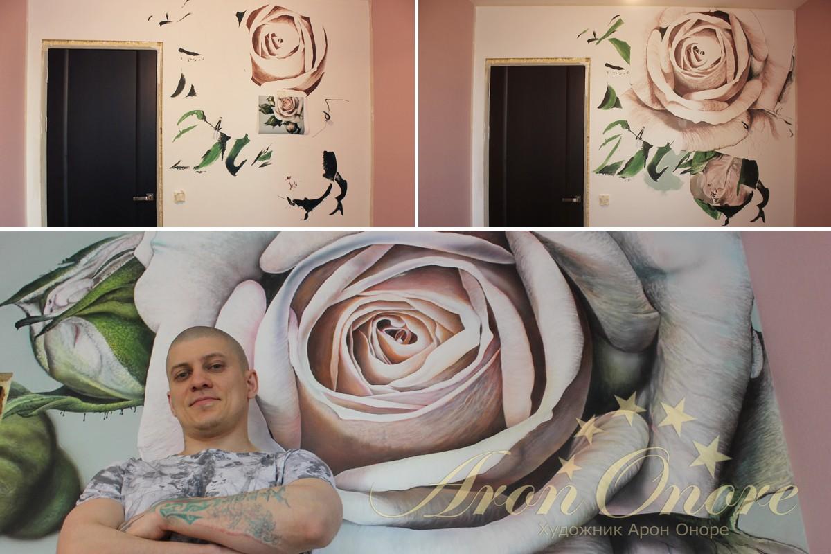 Процесс как делается роспись стен роза