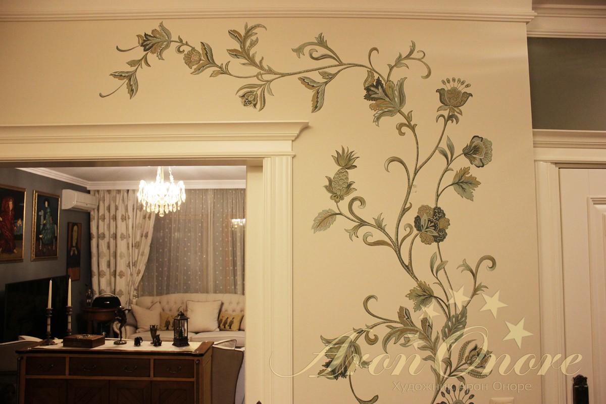 роспись орнаментом цветы