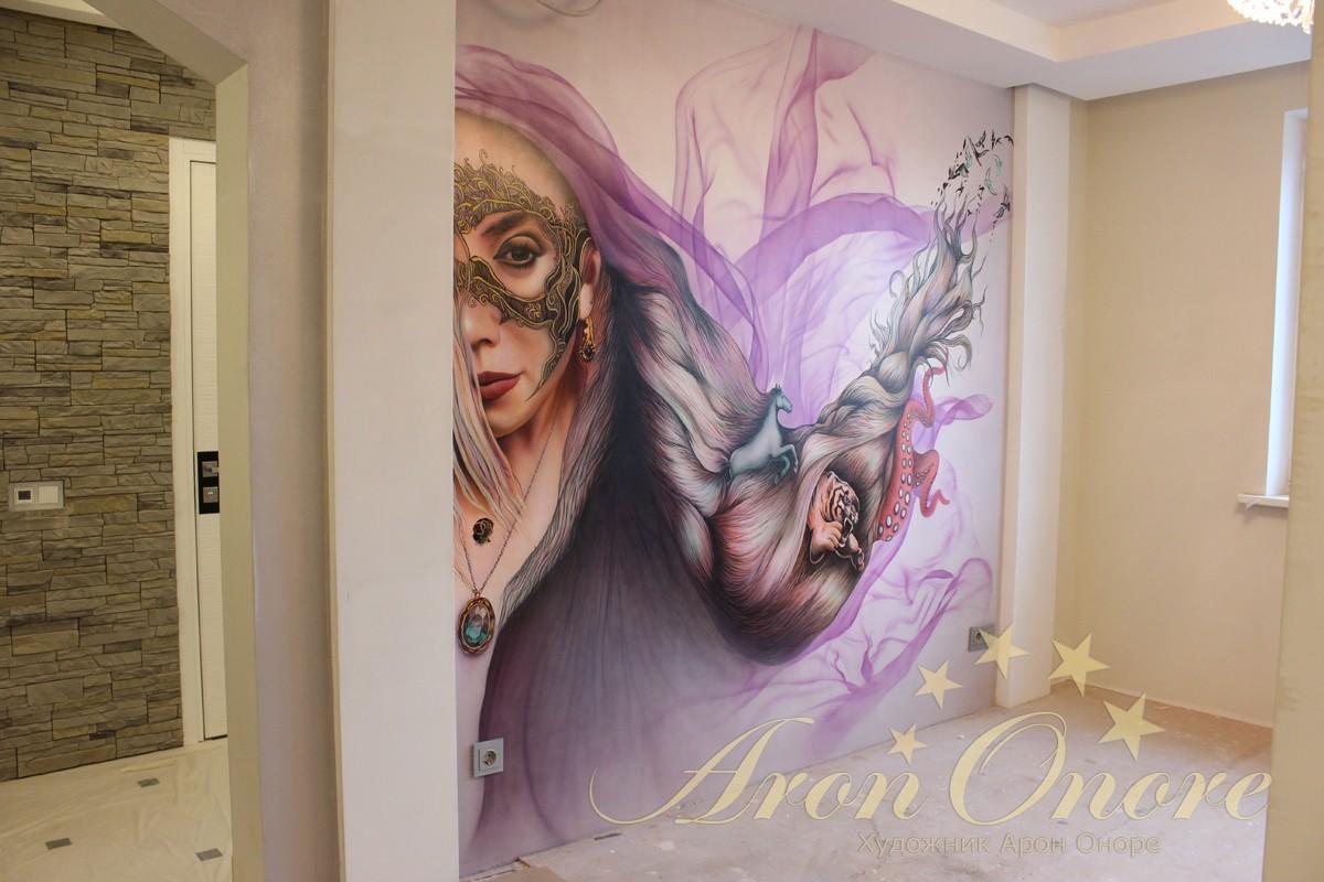 роспись на стенах портрет абстракция