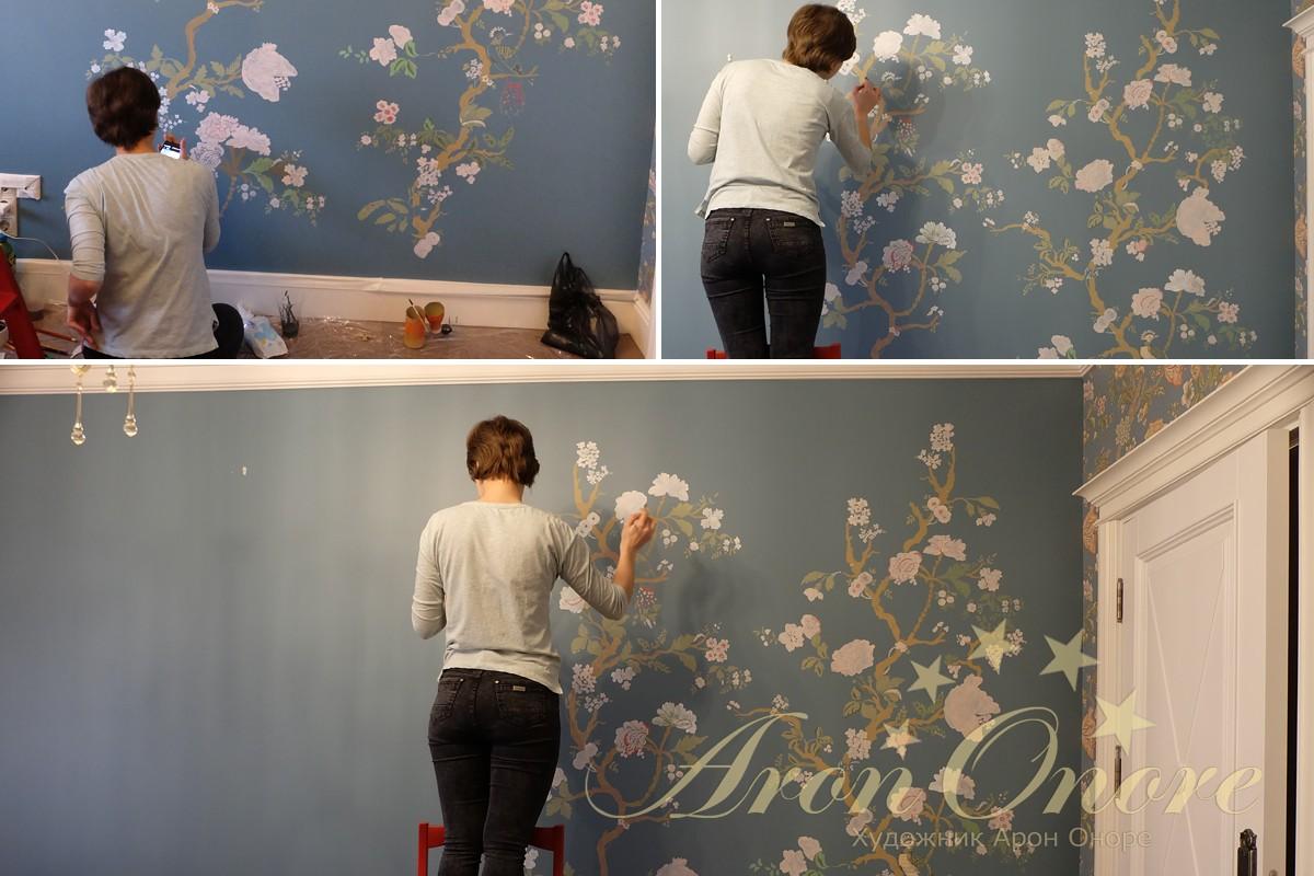 процесс рисования орнаментальной росписи
