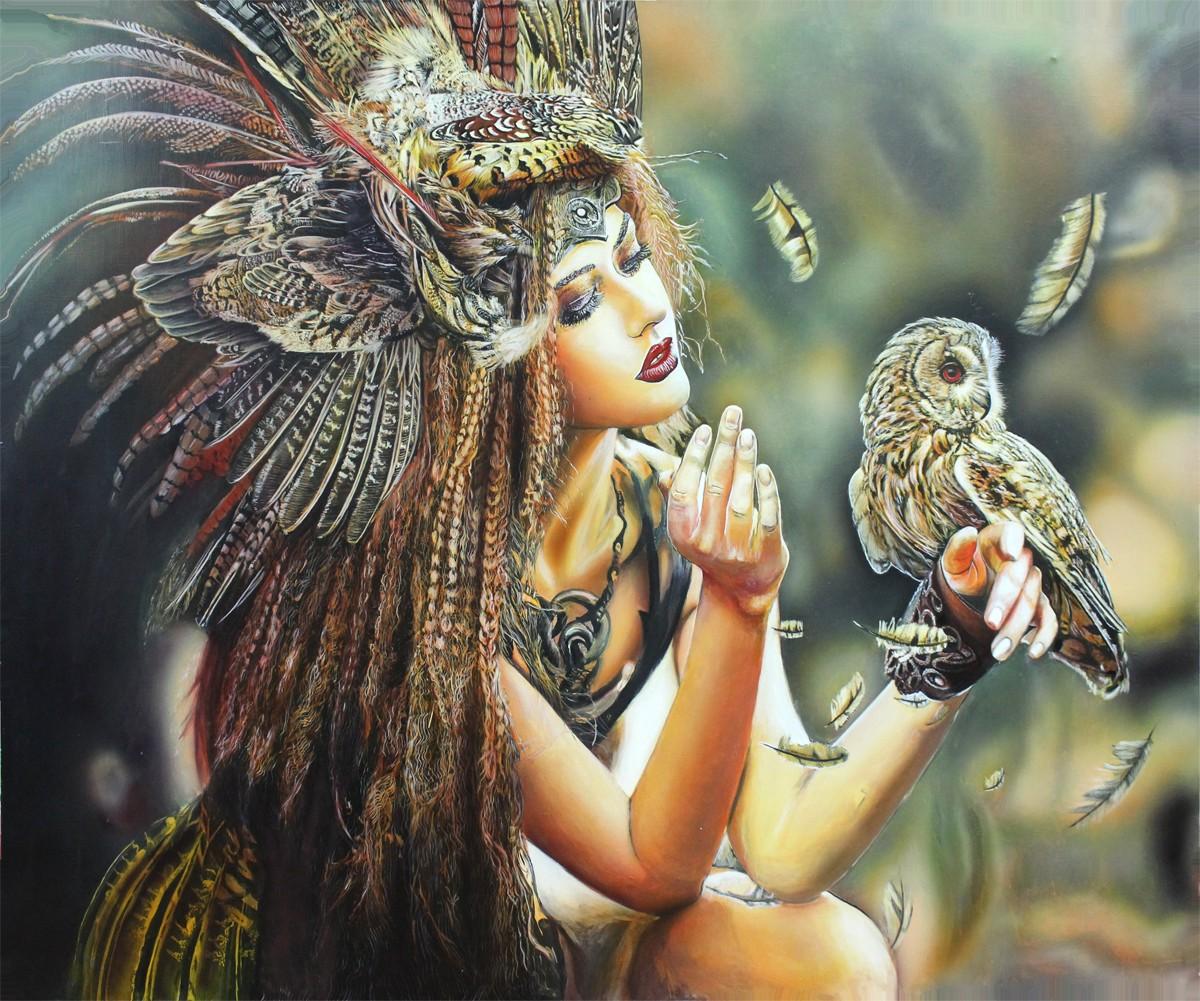 картина девушка с совой