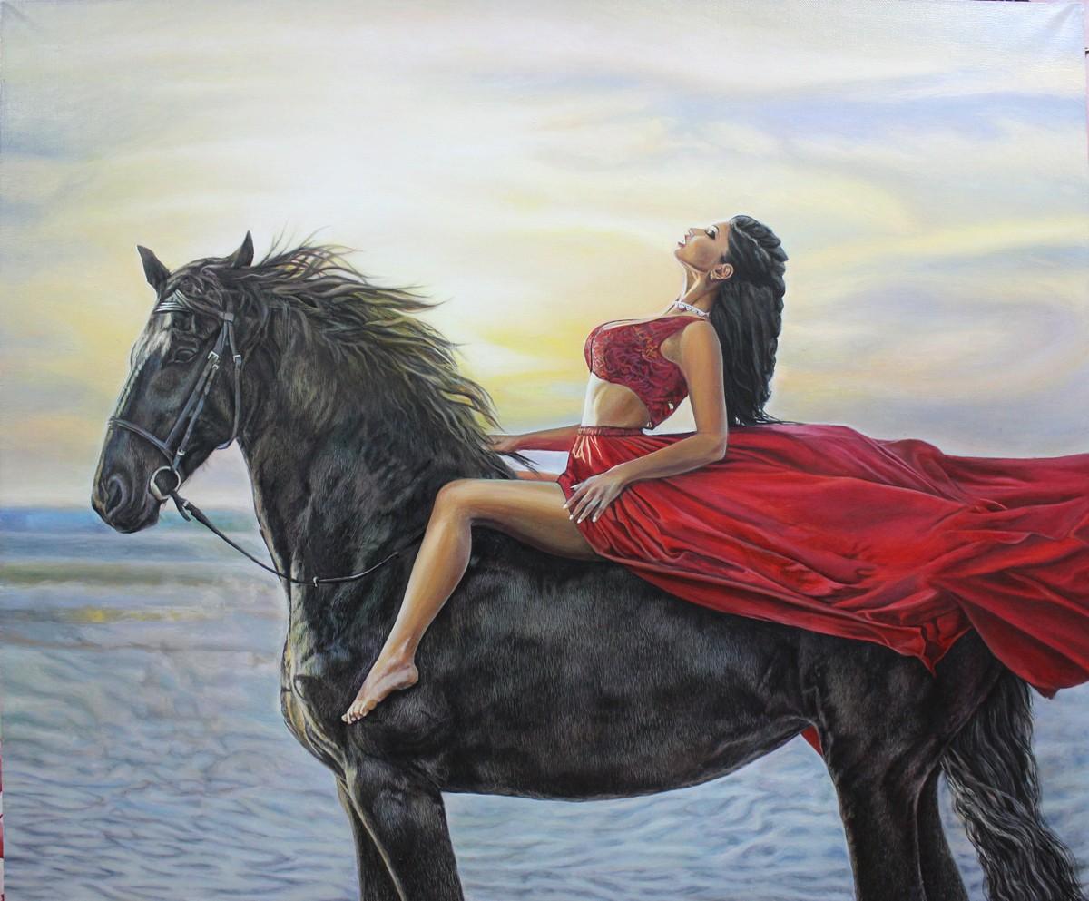 картина девушка на лошади