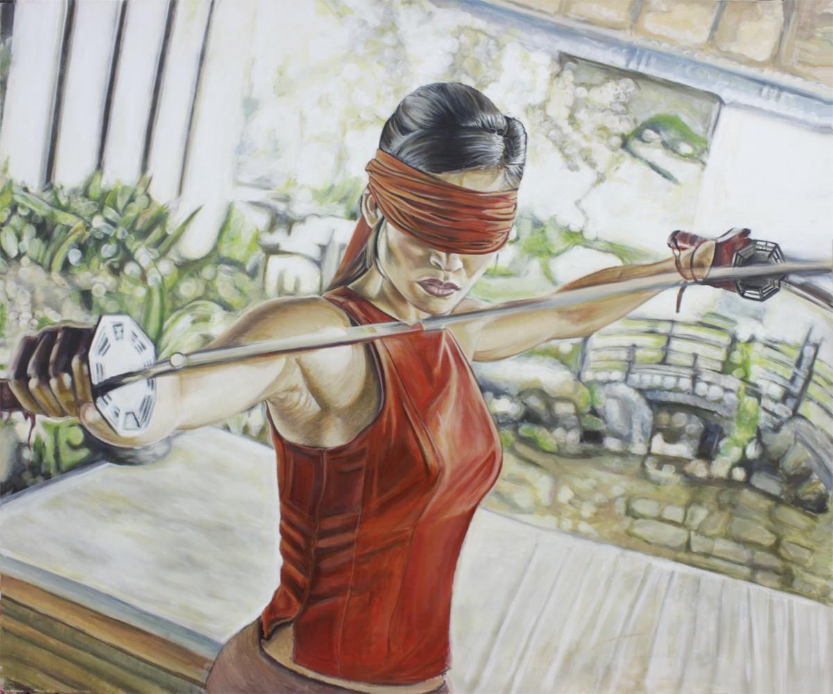 девушка японка с мечом картина